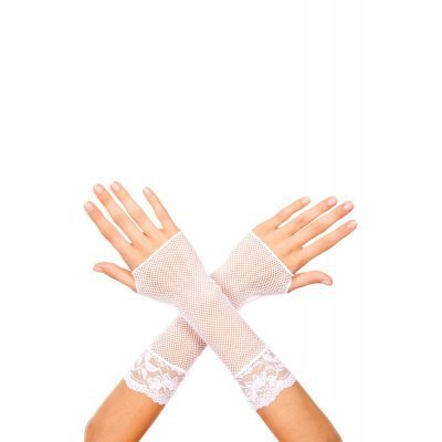 Short fishnet gloves with lace trim WHITE
