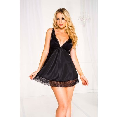 Satin overlace cup with lace trim mini dress BLACK