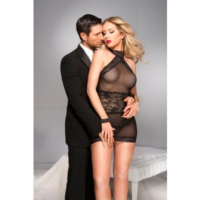 High cut neckline chemise with lace trim