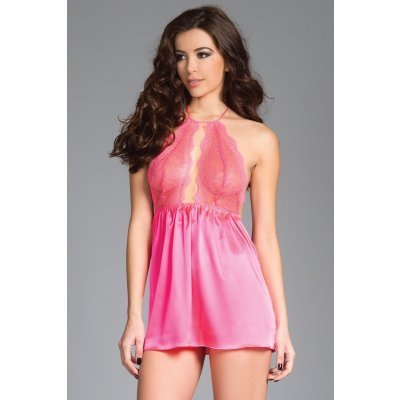 Long Satin Babydoll With Lace Cups - Light Pink