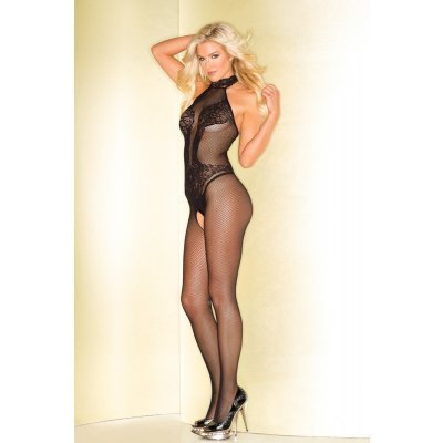 Fishnet Catsuit With Lace Body Print