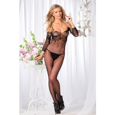 Off-Shoulder Fishnet Catsuit With Open Crotch