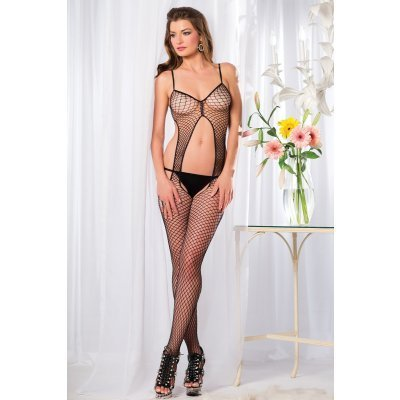 Crotchless Fishnet Catsuit With Open Back