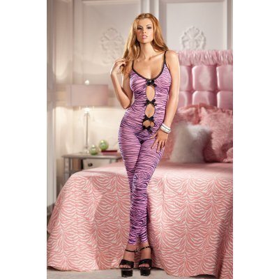Crotchless Catsuit With Tiger Print And Bows