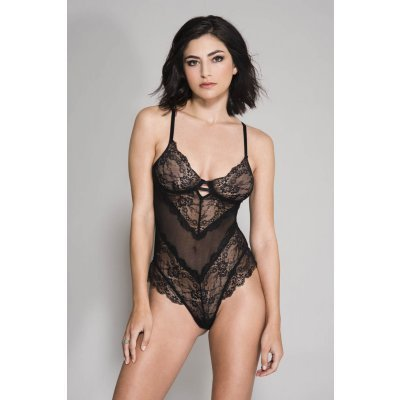 Flower Lace And Mesh Body - Black