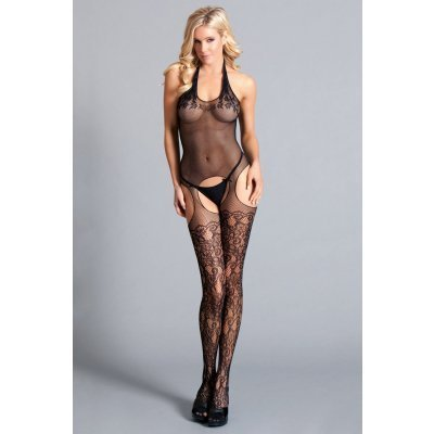 Halter Suspender Bodystocking With Lace