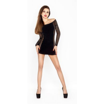 Black Mini Dress With Net Sleeves