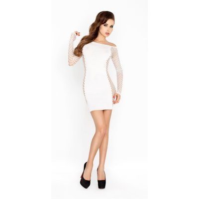 White Mini Dress With Mesh Sleeves