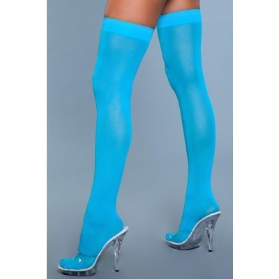 Thigh High Nylon Stockings - Turquoise