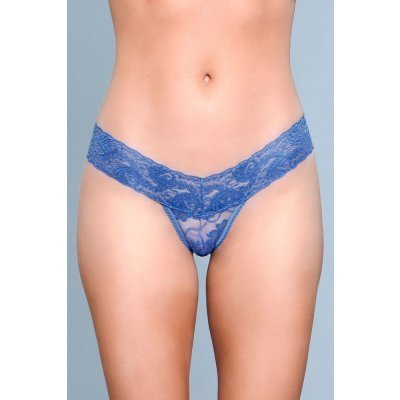 V-Cut Lace Panties - Blue