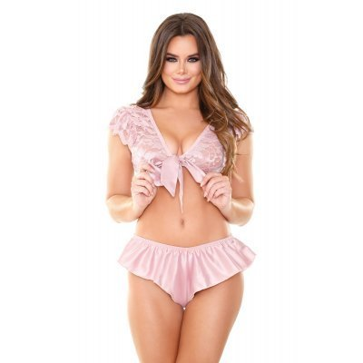 2-Piece Set With Lace Top - Pink