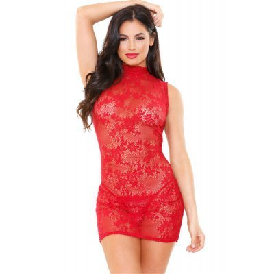 Ariel Lace Dress With Thong - Red