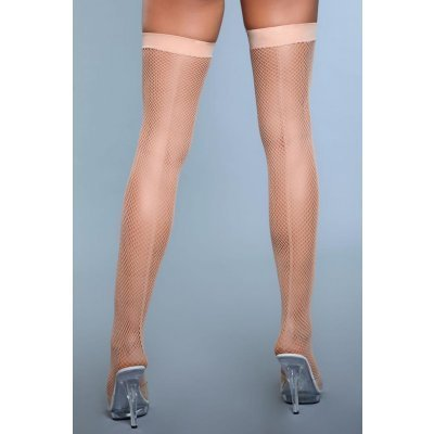Great Catch Fishnet Backseam Stockings - Nude