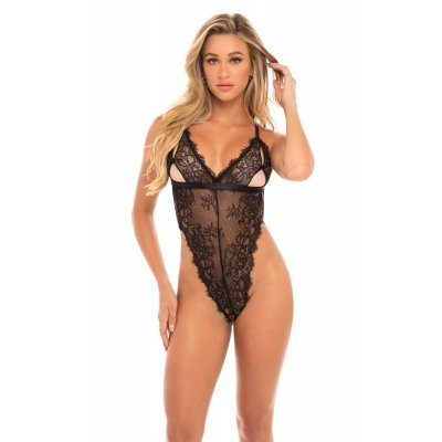 Lace Body with an Eye-Catching Back -  Black