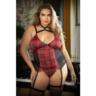 Shannon Plaid Suspender Set With Thong