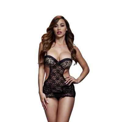 Baci - Lace Bodysuit With Open Sides - Leopard Print